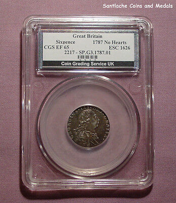 1787 KING GEORGE III SIXPENCE NO HEARTS - Graded Good EF by CGS