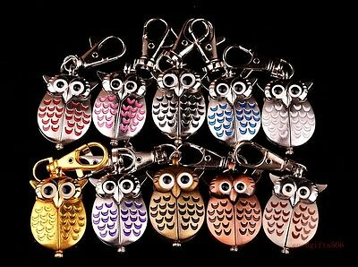wholesale 10pcs Owl boys Girls Kids Key Ring Chain watches gifts 10 colours GX7