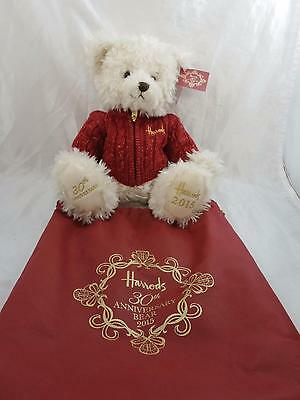 HARRODS 2015 BENEDICT 30th ANNIVERSARY CHRISTMAS BEAR WITH DUSTBAG