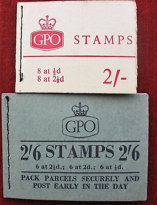 Stamps. Great Britain Stitched Booklets 1957 & 1964. 2/6 & 2/-. Pre-Decimal Mint