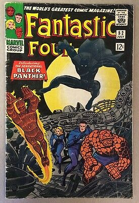 The Fantastic Four #52 1st Black Panther Appearance Marvel Comics 1966 VG/FN
