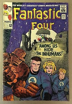 The Fantastic Four #45 1st Inhumans Appearance Marvel Comics 1965 VG+
