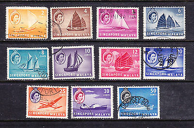 SINGAPORE postage stamps -1955-59 11 x Used collection odds