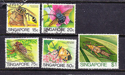 SINGAPORE postage stamps -1985 'Insects' 5  x Used collection odds