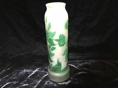 """signed Galle green cameo flowers art glass vase signed 7.75"""" perfect PRETTY"""