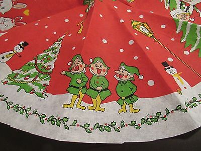 "Vintage Santa Red Cotton Felt Tree Skirt Christmas Decor Rare 32"" Round"