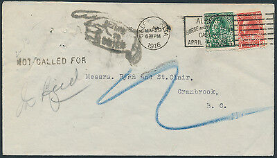 1916 CPR Cover Calgary to Cranbrook BC, Returned, Perfins 1c War Tax, 2c Admiral