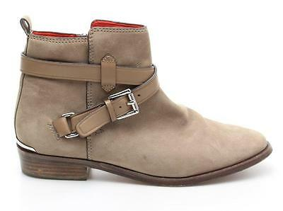 Coach Beige Nubuck Leather Buckle Leoda Ankle Boots Size 8 B