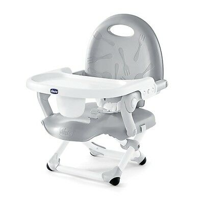 Chicco PocketSnack Portable Dining Chair Toddler Booster Seat with Tray, Gray