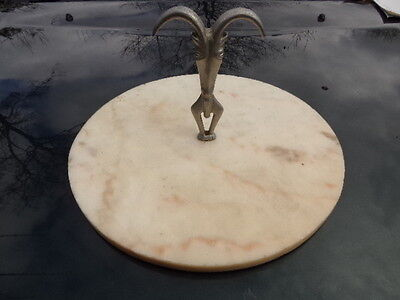 Art Deco Marble Plate Goat Sheep Goat Horn Metal Handle Cheese Deli Shop Display