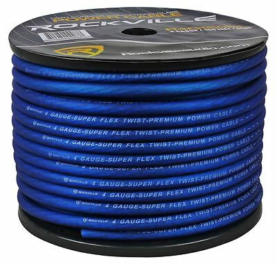 Rockville R4G150-BLUE 4 AWG Gauge 150 Foot Blue Amp Power / Ground Wire Spool