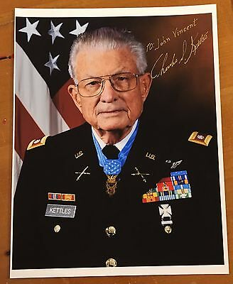 Charles Kettles, 100% Authentic Autographed Photo, Lt. Col, Medal Of Honor ! Wow