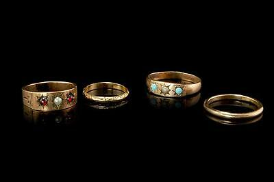 4 Antique Victorian 10K 14K Gold Opal Garnet Baby Bands Rings (081216040)