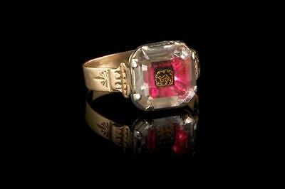 ANTIQUE GEORGIAN STUART CRYSTAL PASTE 9ct GOLD SILVER 17th C RING  (0605170300)