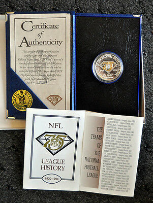 NFL 75th Diamond Anniversary Game Coin Limited Suede Box & Cert .999 Fine Silver