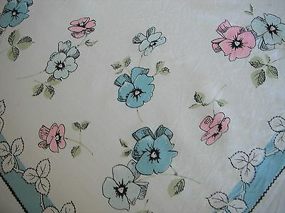 Vintage Pink Blue Pansy Flower Tablecloth 50 X 44 Well Loved & Used