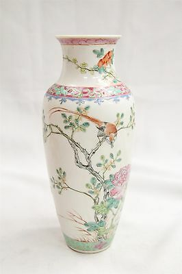 Old Chinese Porcelain Bird branches Roses Buttefly Grass Vase Wow!