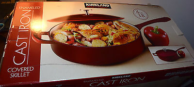 NEW 4 Qt. Kirkland Signature Covered Cast Iron Skillet Porcelain Enamel Interior