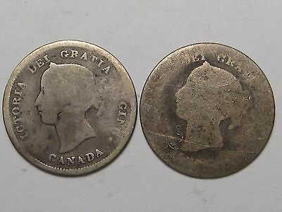 2 Better Date, Lower Grade Canadian Silver 5 Cent Coins: 1872-H & 1872.  #25