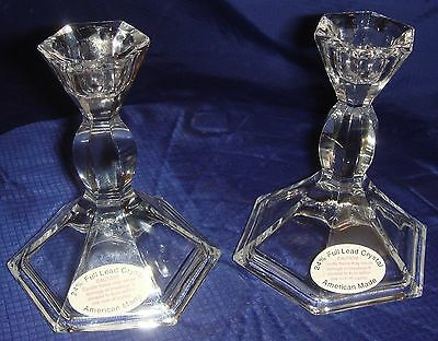 MH080 Vtg America Made 24% Full Lead Crystal Glass Candle Holders