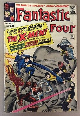 The Fantastic Four #28  Early X-Men Crossover Marvel Comics 1964 GD Jack Kirby