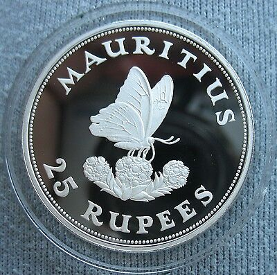 Mauritius 1975 Silver 28.28g Proof 25 Rupees Butterfly on Flowers