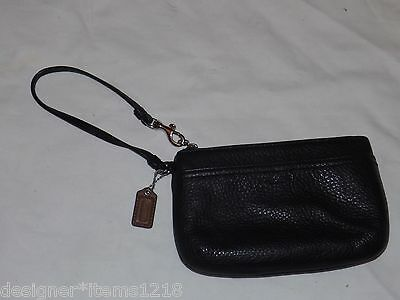 Coach Black Leater Coin Wristlet Wallet Small Purse