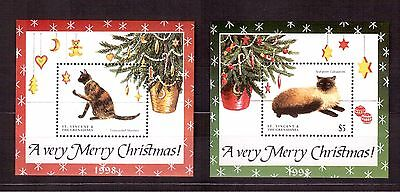 St.vincent & Grenadines 1998 #2653/54 S/s Mint Nh, Domestic Cats, Christmas !!