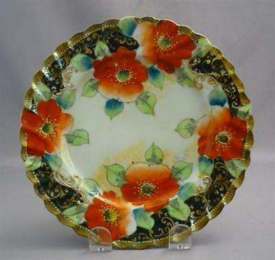 Old Nippon Hand Painted Plate Gold Moriage Cobalt Blue Poppies Kiri No Mon Mark