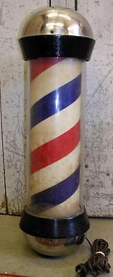 Antique Koken Rotating Electric Lighted Barber Pole Building Outside Sign