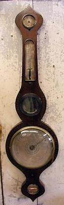 Antique Wooden Hanging Thermometer Barometer W Stenciling Unknown Maker