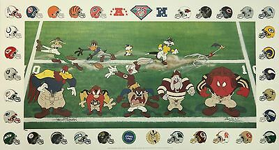1995 Warner Bros. LOONEY TUNES Football LIMITED EDITION Lithograph Poster SIGNED