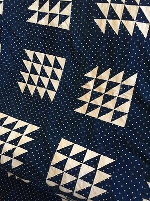 Hand stitched Antique Quilt Top Flying Geese Blue & White Polka Dot
