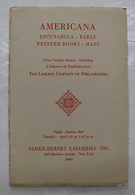 Parke Bernet Auction Catalogue Americana Incunabula Early Printed Books Maps