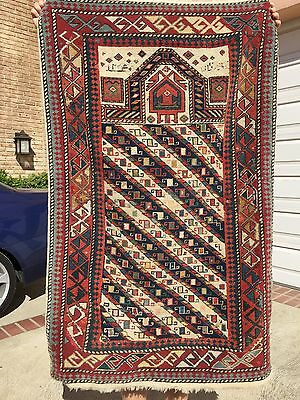 Auth: Early 19th C Antique Caucasian Rug 1820's Reconstructed fragment  3x4  NR
