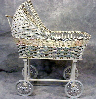 Antique 19th C Victorian Wicker Baby Buggy Stroller Pram Carriage Doll OLD VTG