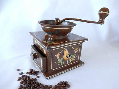 vintage coffee grinder,  Wrightsville Hardware Co. PA, dovetailed wood and cast