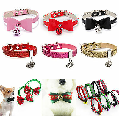 CH Pet Collar Bow Tie Buckle Leather Collar Dog Cat Collar Bell Bowknot Necklace