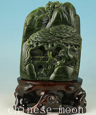 Chinese natural jade Handmade Carved Landscape Statue Figure Ornament
