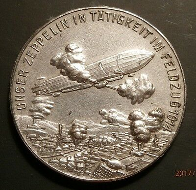 1914 War Role Of Zeppelins ; Bombing City In France.silvered Medal C604