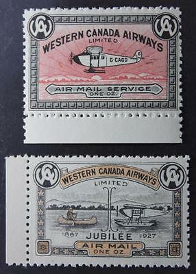 #CL40 & CL41, MNH OG, Semi-Official Air Mail Pair, Western Canada Airways, 1927