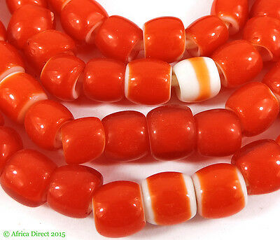 Whitehearts Venetian Trade Beads Red New Africa 30 Inch