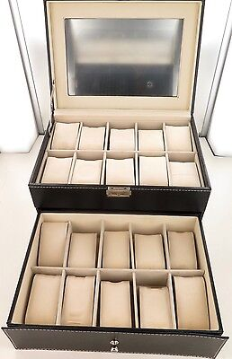 Superb / Quality 2 Drawer 20 Compartment Skeleton Top Watch Storage Display Box.