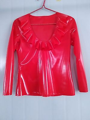 Latex Rubber Tight casual Chest lace collar Top Suit shirt Size XXS-XXL