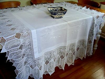 Vintage Hand Crochet Lace Embroidered Tablecloth White Work Ecclesiastical ?