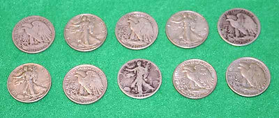 Half Roll 10 Silver Walking Liberty Halves 90% silver FREE SHIPPING!