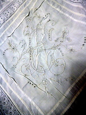 "European Antique Hand Embroidered ""KE"" Eyelet Lace LARGE Pillow Sham"