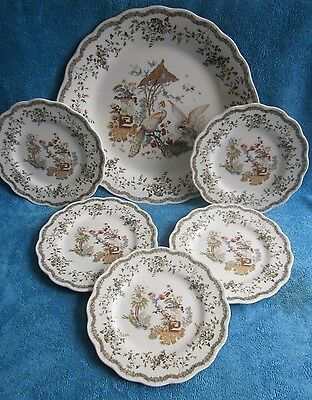 6 pc SERVING SET Nikko large 29cm PLATE & 5 INDIVIDUAL asian birds,flora box