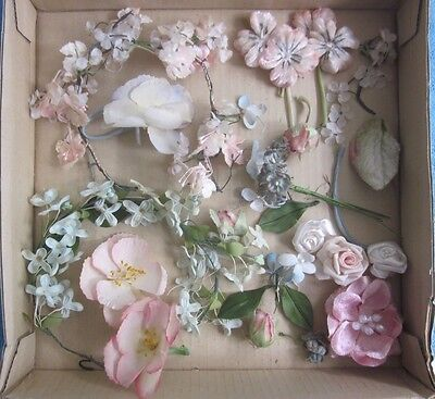 vintage retro MILLINERY HAT fabric FLOWERS single, sprays pink, blue wired stems