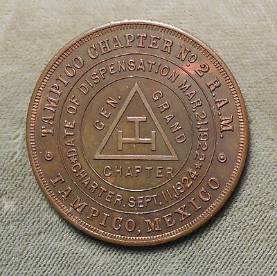 Tampico Mexico Tampico Chapter No 2 R.A.M. One Penny Copper Masonic Toned Beauty